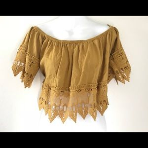 Sexy Mustard Color Lace Trim Crop Top Sz XL
